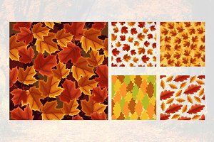 Maple Leaf Oak Fall Seamless Pattern