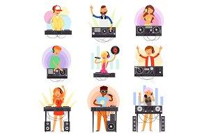 DJ music vector discjockey people