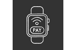 Smartwatch NFC payment chalk icon