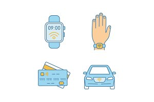 NFC technology color icons set