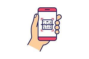 QR code smartphone scanner icon