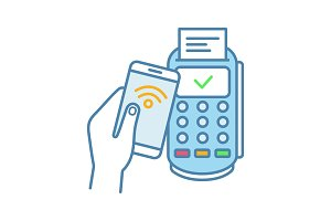 NFC smartphone payment color icon