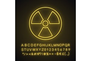 Nuclear energy neon light icon