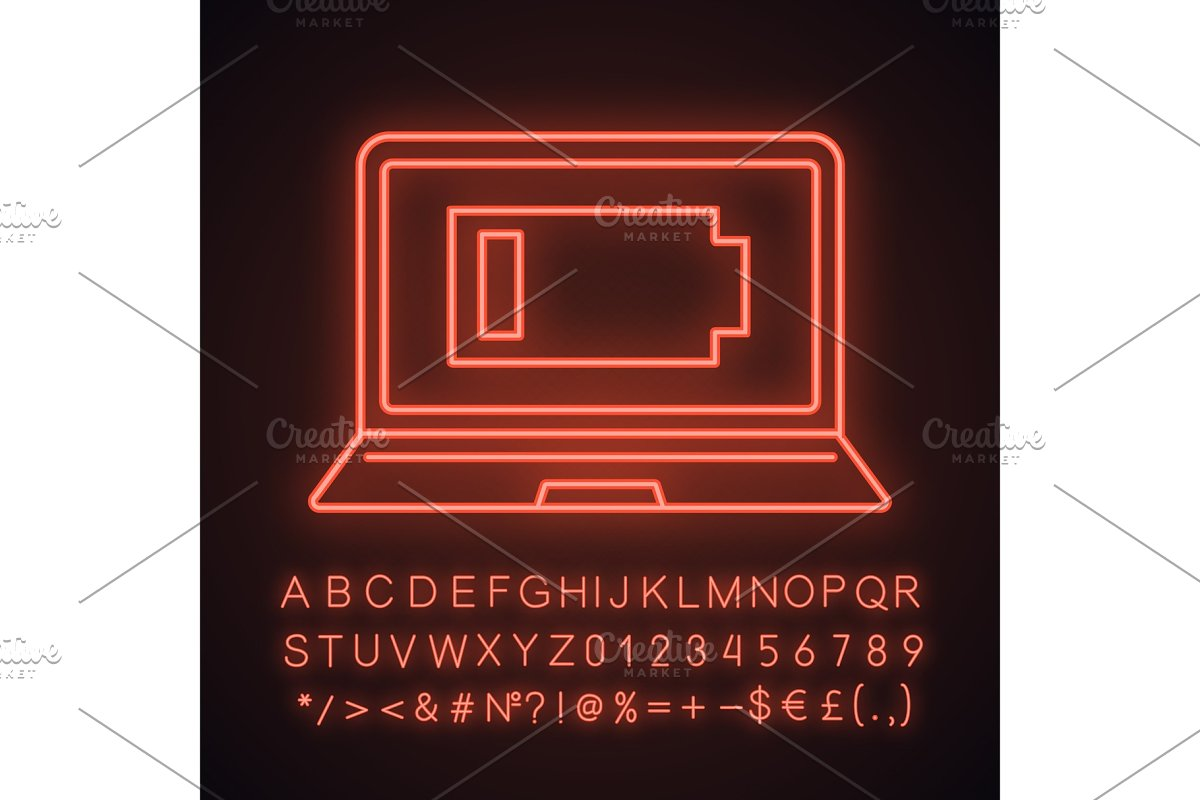 Discharged laptop neon light icon
