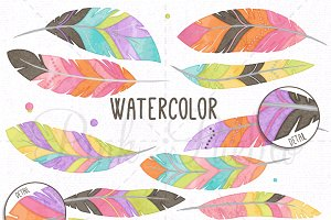Watercolor Feather Clipart & Vectors