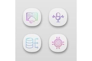 Machine learning app icons set