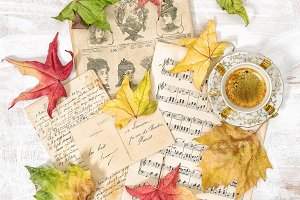 Used paper music notes coffee Autumn
