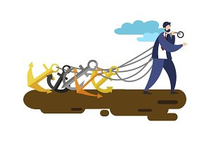 Businessman pull ship anchors vector
