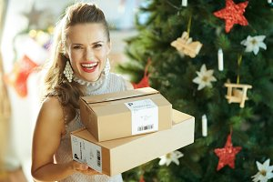 smiling trendy woman with parcels ne