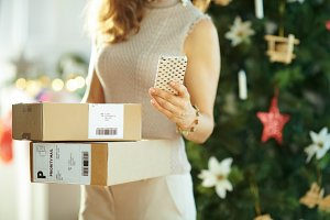 woman with parcels and smartphone us