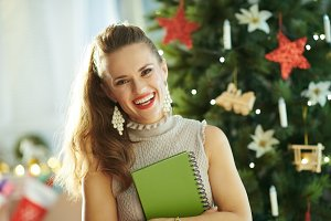 happy young housewife near Christmas