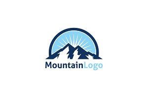 Blue Mountain Peak Logo Template