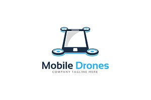 Mobile Phone Drone Logo Template