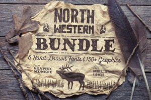 North Western Font + Vectors BUNDLE
