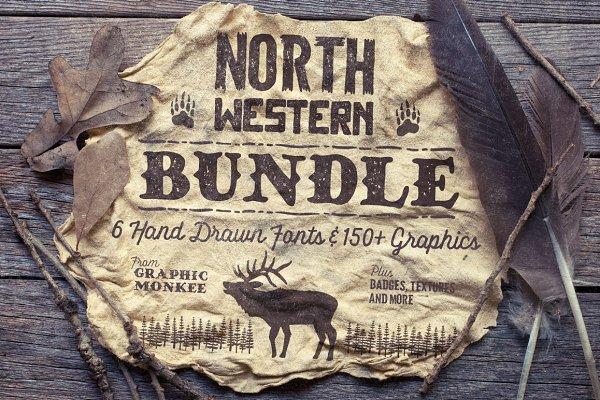North Western Font + Vectors BUNDLE