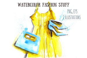 watercolor fashion stuff