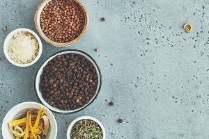 Various spice in bowls