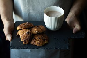 chocolate chip cookies and a cocoa