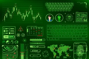 Green futuristic user interface