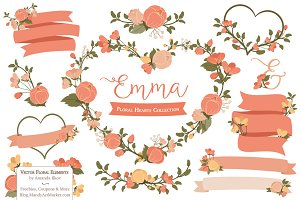 Peach Floral Heart Wreath Clipart