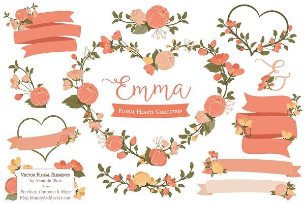 Peach Floral Heart Wreath Clipart