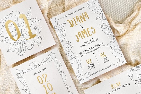 simple floral outline wedding suite invitation templates