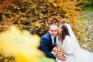 Wedding couple background autumn lan