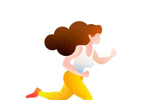 Pretty girl in jogging pose