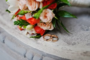 Wedding bouquet of white and orange
