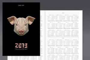 Diary planner for 2019 year with pig