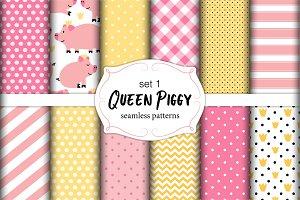 Cute set Queen Piggy seamless