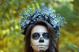 Woman with make-up for Halloween.