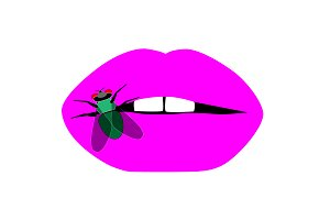 Pink lips with fly insect background