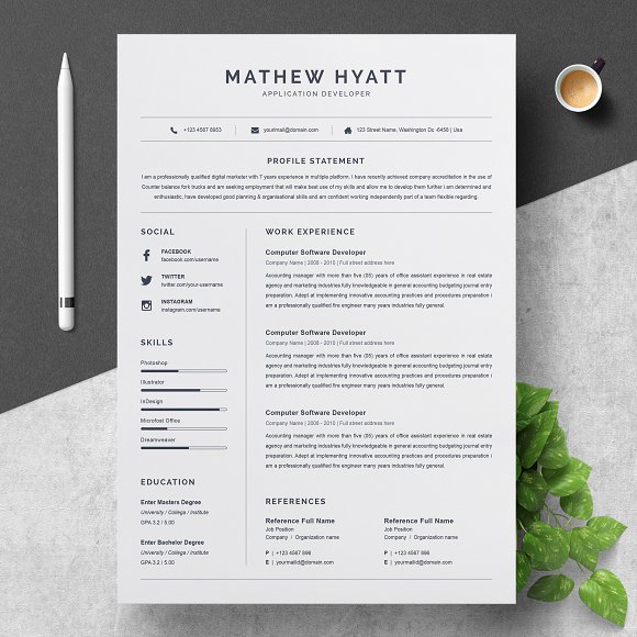 clean resume cv template resume templates creative market