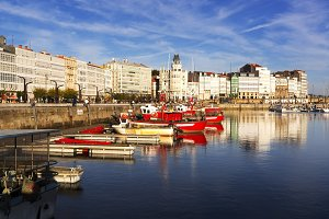 Coruna with boats and  buildings