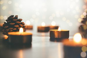 Christmas candles with lights bokeh