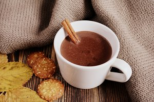 Hot chocolate with cinnamon stick