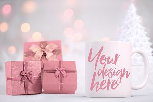 Christmas styled stock mug mock-up