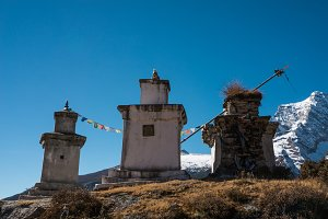 Buddhist stupas in the Himalayas