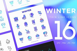 Winter | 16 Thin Line Icons Set