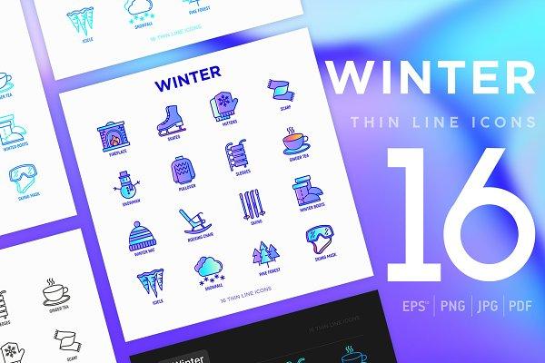 Icons: Blogoodf - Winter | 16 Thin Line Icons Set