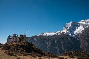 Himalaya landscape with scare stupas