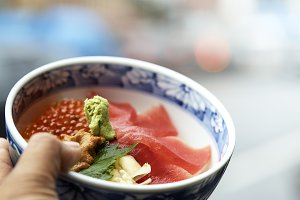 Japanese delicious sea urchin meal