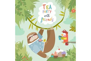 Vector card with cute sloth and