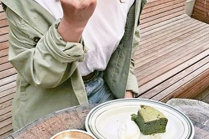 Woman doing breakfast coffee cake