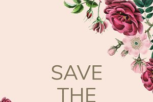 Save the date with floral design