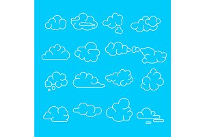 Abstract Clouds Signs Icon Set.
