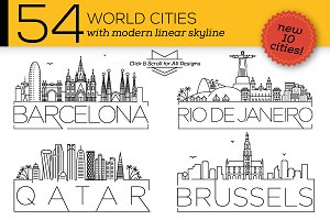 54 Different World Cities Skyline