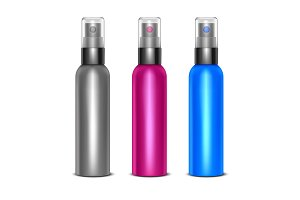 3d Blank Spray Bottles Set. Vector
