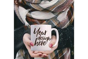 Square Winter styled mug mock-up